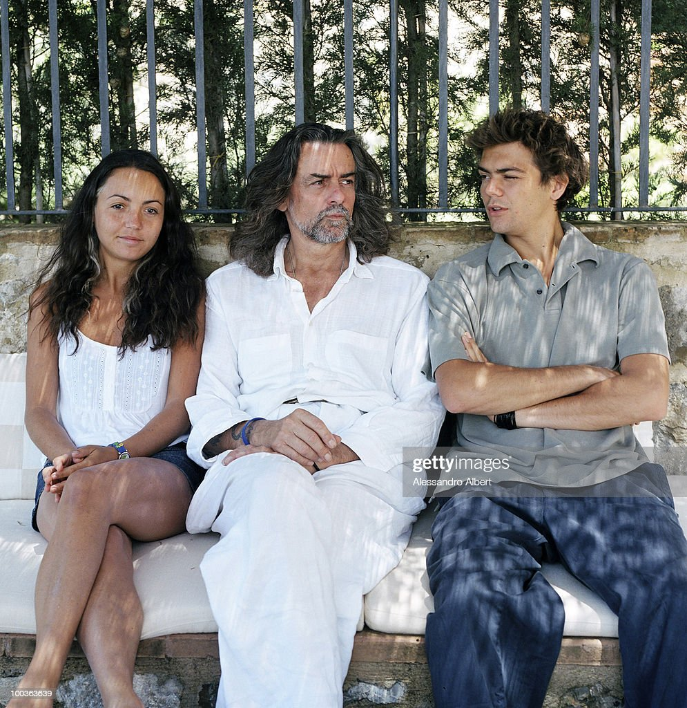 The wine consultant Gelasio Gaetani d'Aragona Lovatelli and his sons Cristoforo and Iacobella poses for a portraits session in the Villa Argiano on July 12, 2006 in Argiano, Italy