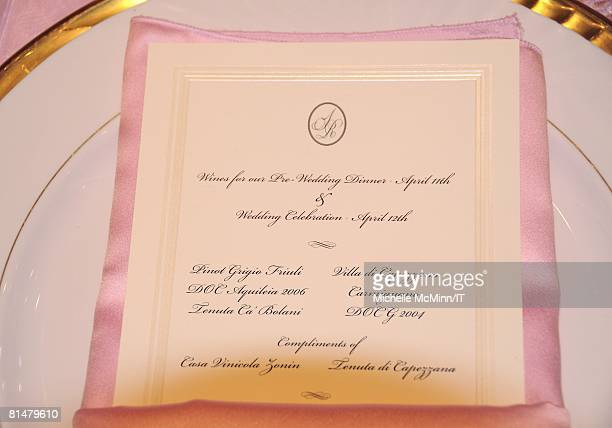 The wine list during the wedding reception of Ivana Trump and Rossano Rubicondi at the MaraLago Club on April 12 2008 in Palm Beach Florida