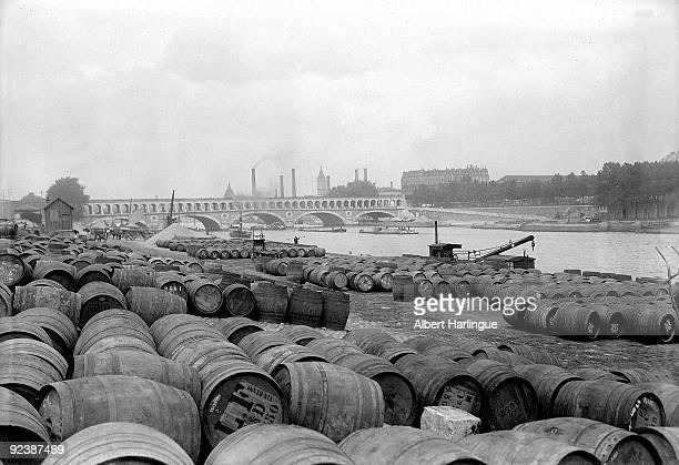 The wine port near the pont de Bercy Paris about 1920
