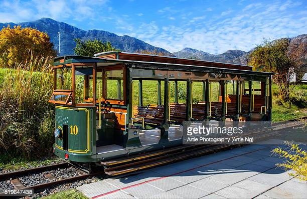the wine tram, franschhoek, western cape, south africa - tram stock photos and pictures