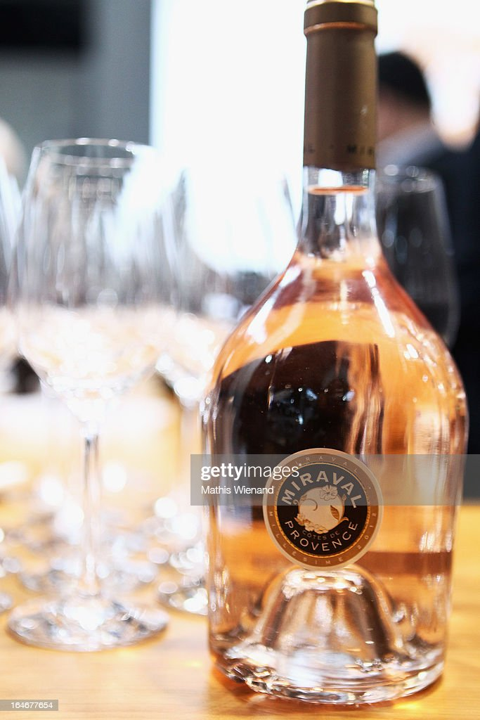 The Winebottle 'Miraval Rose 2012 - bottled by Jolie-Pitt et Perrin' of Angelina Jolie and Brad Pitt at the 'Pro Wein' Traide Fair Düsseldorf on March 24, 2013 in Dusseldorf, Germany.