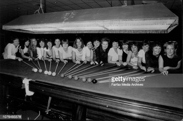 The Winfield NSW All Ladies Classic Snooker Tournament is being held at the City Tattersalls ClubL to R Sandra Simpson Lind Arnold Senjia Kostaslanji...