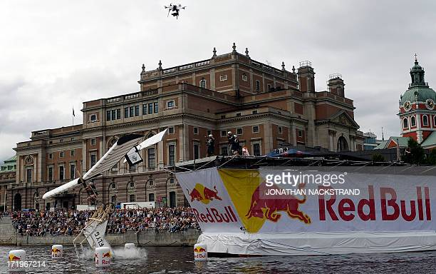 The Winged Hull team competes with their homemade flying machine during the Red Bull Flugtag on June 30 2013 in Stockholm Some 27 teams took part in...