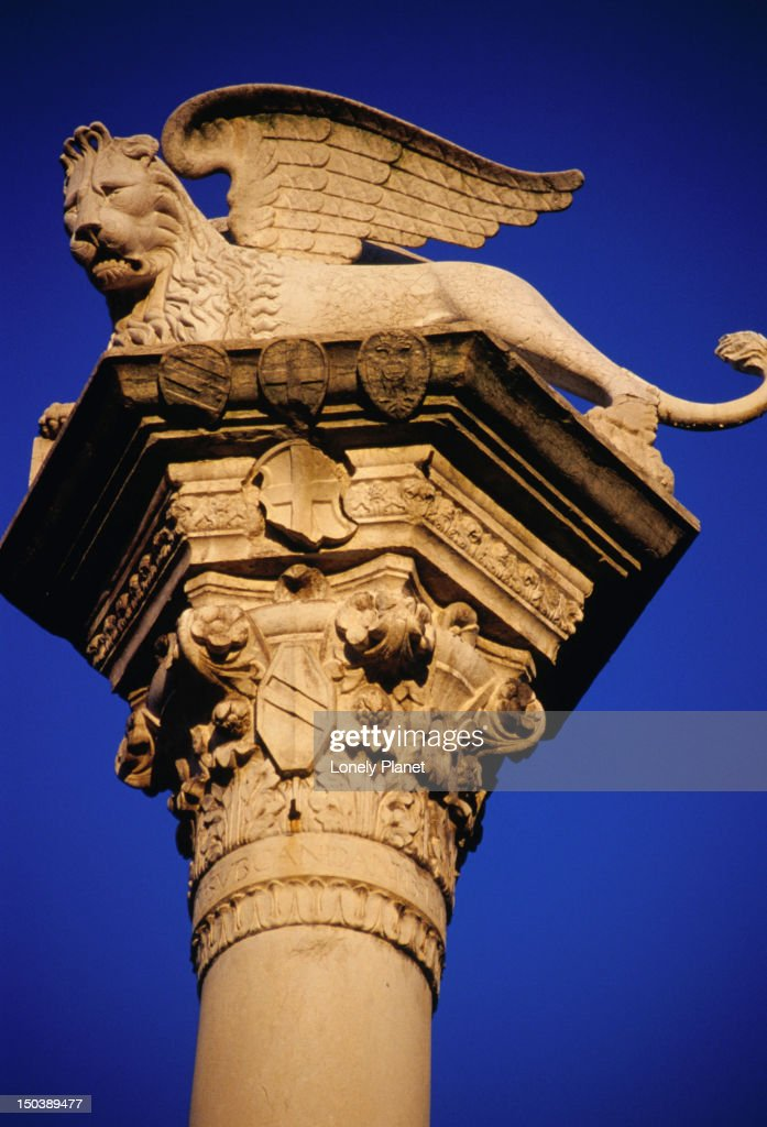 The Winged Lion Of Venice On Piazza Dei Signori The Lion Is The