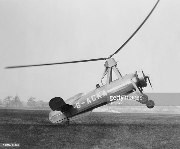 The wingless type of autogyro designed and constructed by Juan De La Cierva the inventor of this type of aircraft is shown during its first test...