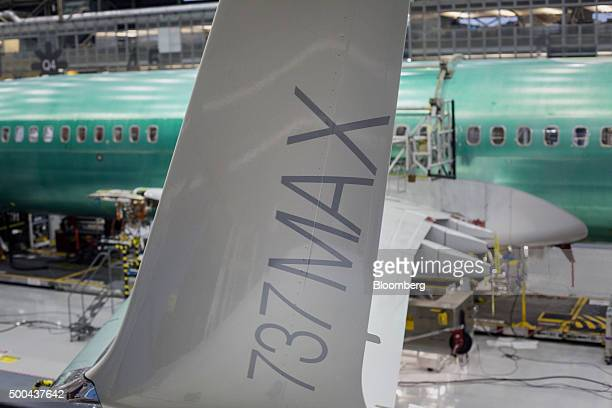 The winglet of a Boeing Co 737 MAX airplane is seen on the production line at the company's manufacturing facility in Renton Washington US on Monday...