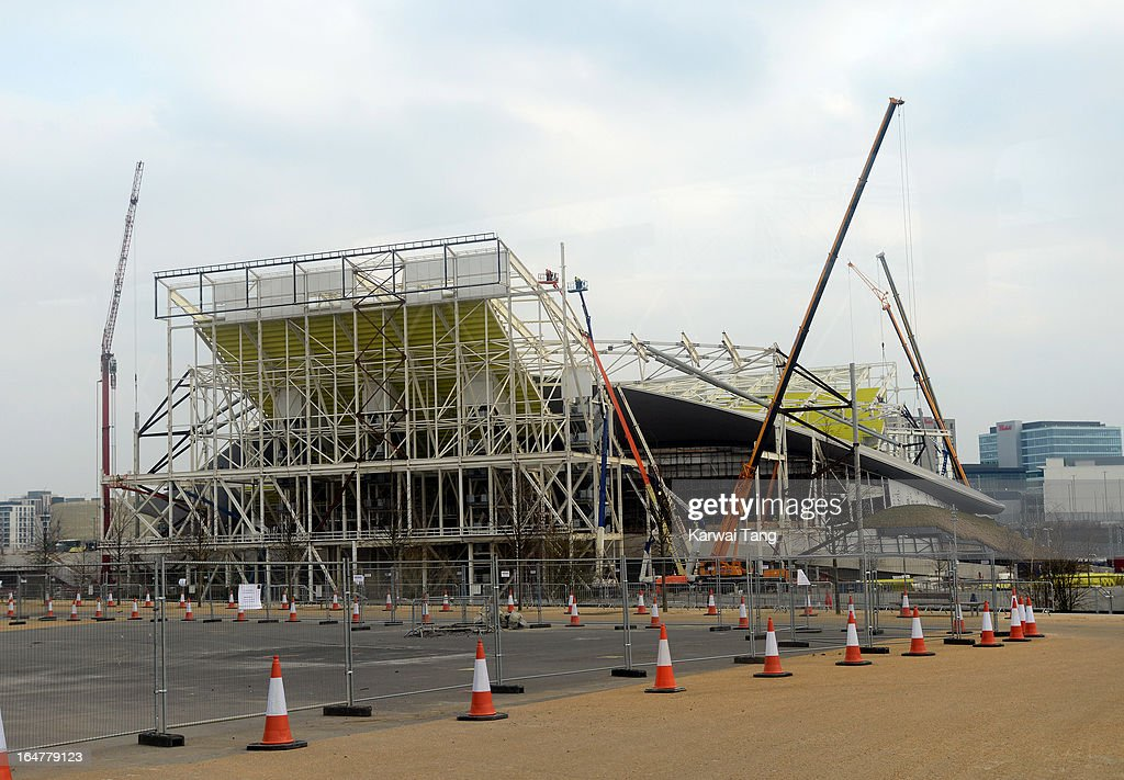 The wings being removed from the Aquatic Centre during the Park In Progress tour of Queen Elizabeth Olympic Park. on March 27, 2013 in London, England.