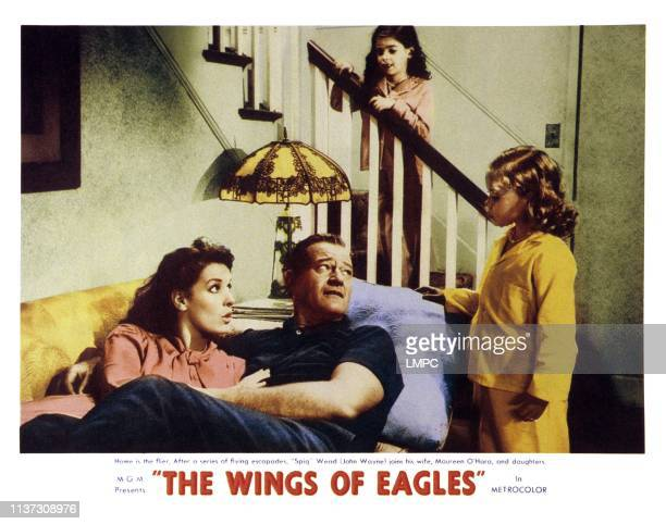 The Wings Of Eagles, US lobbycard, from left: Maureen O'Hara, John Wayne, Evelyn Rudie , Mimi Gibson, 1957.