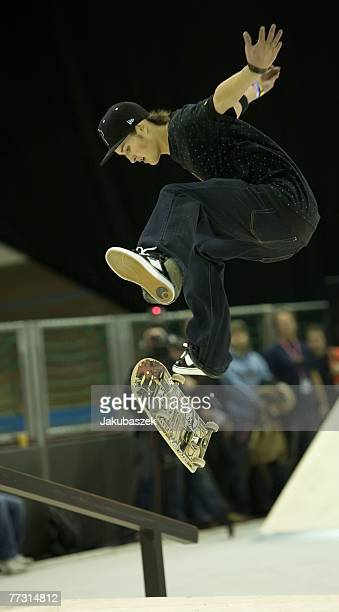 The winner Alex Mizurov competes during the skateboarding street competition at the TMobile Xtreme Playgound event at the Volodrom on October 13 2007...
