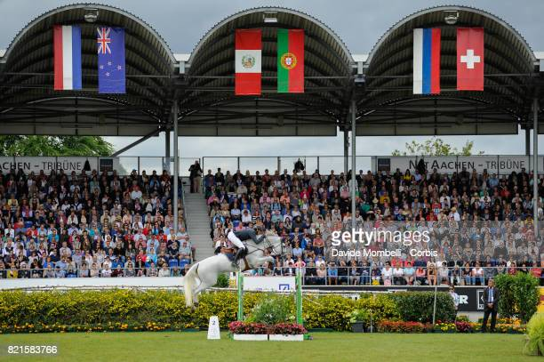the winner Gregory Wathelet of Belgium riding Coree during Rolex Grand Prix CHIO World Equestrian Festival Aachen on July 23 2017 in Aachen Germany