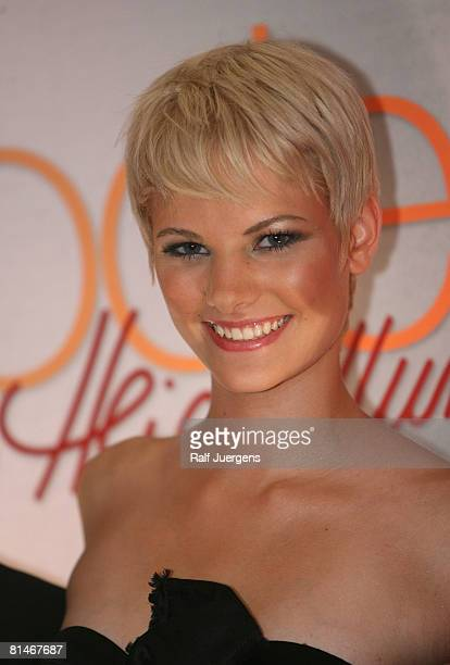 The winner Jennifer Hof attends a photocall for PRO7 TV show 'Germanys Next Topmodel' on June 05 2008 at Cologne Germany