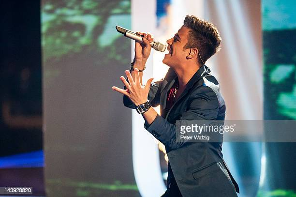The winner of 2012 'Deutschland Sucht Den Superstar' Luca Haenni performs during DSDS Kids 1st Show at Coloneum on May 05 2012 in Cologne Germany