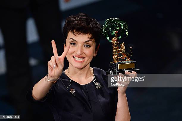 The winner of 2014 Sanremo Music Festival Arisa attend closing night of the 64rd Sanremo Song Festival at the Ariston Theatre on February 22 2014 in...