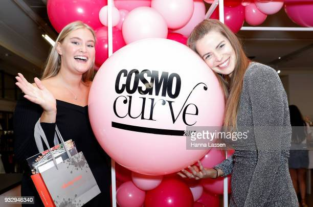 The winner of Cosmo Curve Casting with Robyn Lawley Sarah Bolt and Robyn Lawley pose at Cosmo Curve on March 17 2018 in Sydney Australia