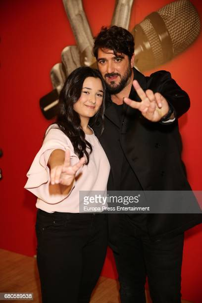 The winner of La Voz Kids third edition Rocio Aguilar and coach Antonio Orozco are seen during the winner photo session on May 8 2017 in Madrid Spain