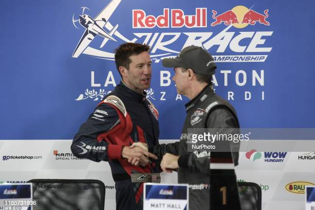 The winner of Masters Class Matt Hall of Australia and Ben Murphy of Great Britain Masters class second place attends press conference after Red Bull...