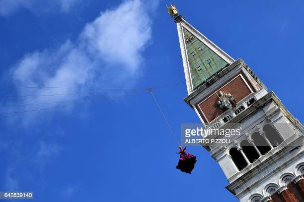The winner of the 2016 edition of the Festa delle Marie Claudia Marchiori performs as the Angel of the new Carnival on February 19 2017 in Venice The...