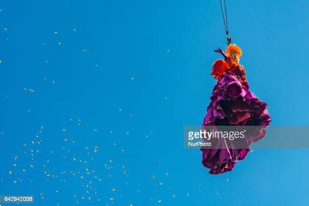The winner of the 2016 edition of the 'Festa delle Marie' Claudia Marchiori performs as the Angel of the new Carnival on February 19 2017 in Venice...