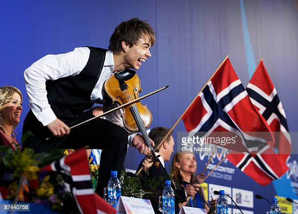 The winner of the Eurovision Song Contest 2009 Alexander Rybak of Norway on his press conference on May 16 2009 in Moscow Russia