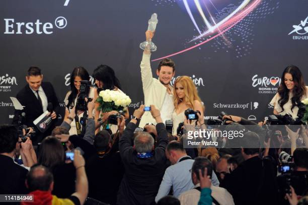 The winner of the Eurovision Song Contest 2011 Eldar Gasimov and Nigar Jamal of Ell/Nikki of Azerbaidjan attend the winner's press conference at the...