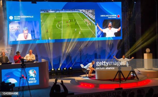 The winner of the FIFA Interactive World Cup 2015 final Abdulaziz Alshehri of Saudi Arabia celebrates his 10 goal in the first half of the final...