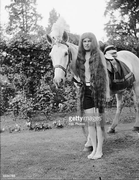 The winner of the Lady Godiva lookalike competition at Addlestone Surrey