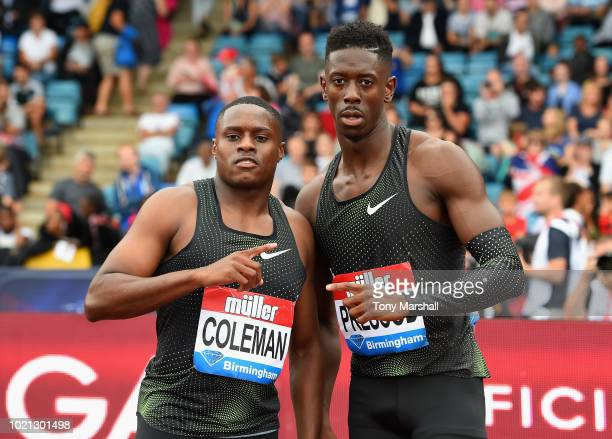 The winner of the Mens 100m Christian Coleman of the United States and second place Reece Prescod of Great Britain during the Muller Grand Prix...