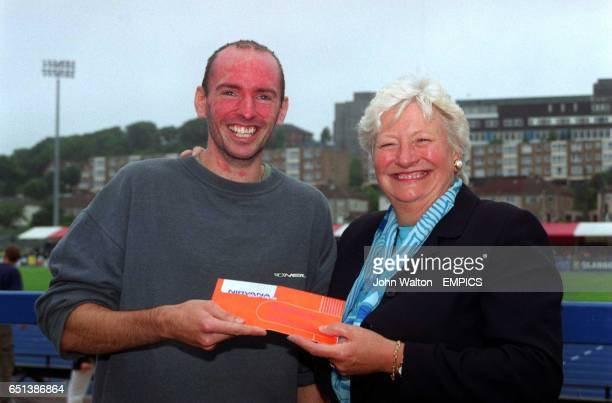 The winner of the Nirvana Competition is presented with his prize a trip to the World Athletics Championships in Edmonton