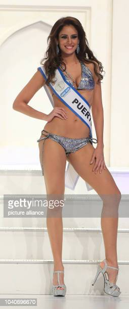 The winner of the second prize Aleyda E Ortiz Rodriguez of Puerto Rico presents beach fashion during the Miss Intercontinenal 2013 beauty pageant in...