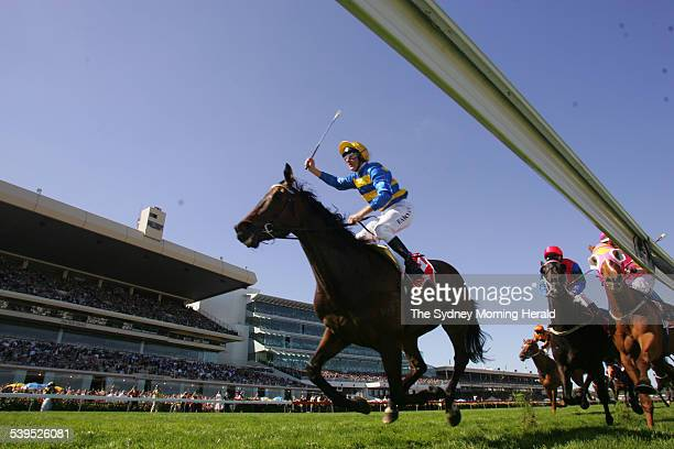 The Winner of the Victoria Derby Plastered ridden by Paul Harvey on 30 October 2004 SMH SPORT Picture by STEVE CHRISTO