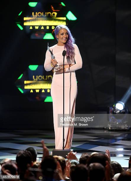 The winner of Viral Super Star Internet Personality Jenna Marbles speaks onstage at the 2014 Young Hollywood Awards brought to you by Samsung Galaxy...