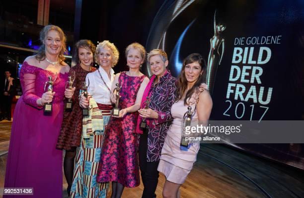 The winners Anja Gehlken , Ninon Demuth, Bettina Landgrafe, Julia Cissewski, Barbara Staecker, Sylke Hoss standing onstage after the award ceremony...
