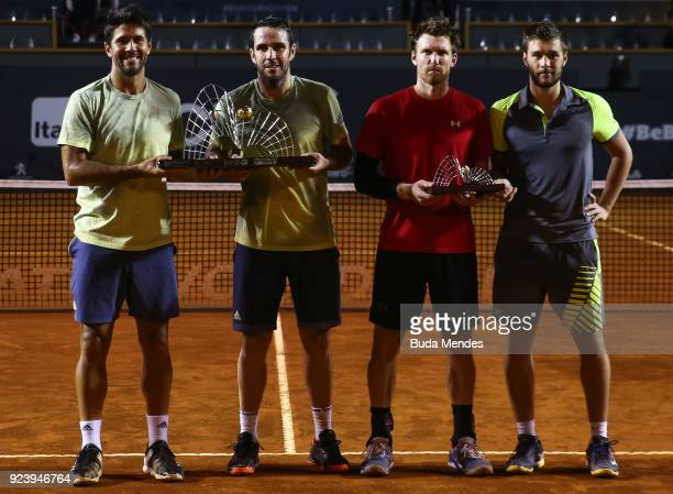 The winners Fernando Verdasco and David Marrero of Spain pose with their trophy along with the vice champions Alexander Peya of Austria and Nikola...