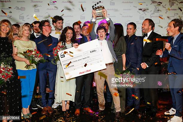 The winners groupshot at the 99Fire-Film-Award 2016 at Admiralspalast on February 18, 2016 in Berlin, Germany.