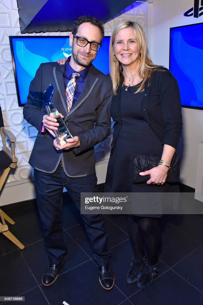 The winners of Best Branded Podcast pose during the 10th Annual Shorty Awards at PlayStation Theater on April 15, 2018 in New York City.