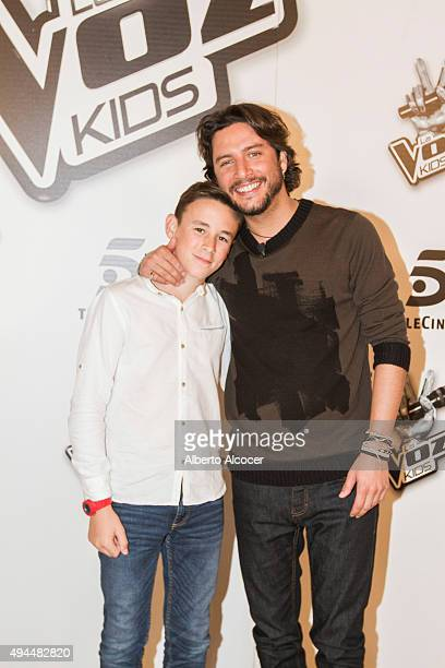 The Winners of La Voz Kids Second Edition Jose Maria and Manuel Carrarco poses during the Winners Photo Session on October 27 2015 in Madrid Spain