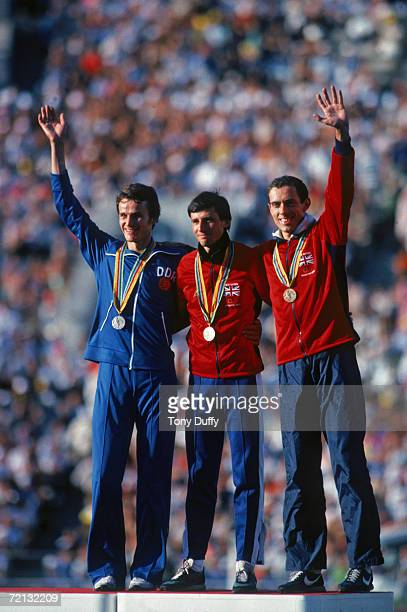 The winners of the 1500 metres mount the podium at the 1980 Moscow Olympics Britain's Sebastian Coe won the gold medal Jurgen Straub of East Germany...