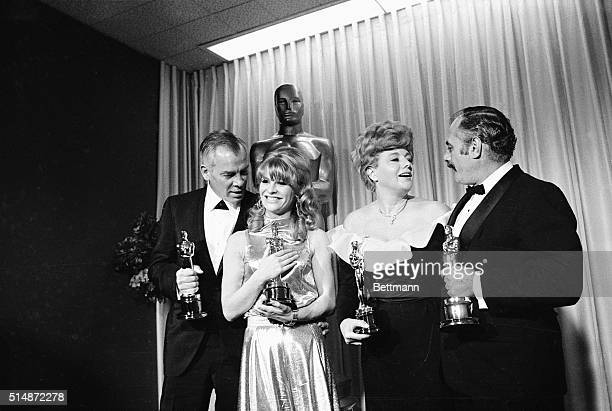 The winners of the 1966 Academy Awards for Best Actor and Actress and Best Supporting Actor and Actress backstage at the 1966 awards ceremony