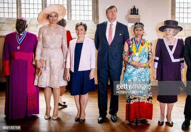 The winners of the Four Freedom Awards pose with Dutch Queen Maxima , king Willem-Alexander and Princess Beatrix during the Four Freedom Awards in...