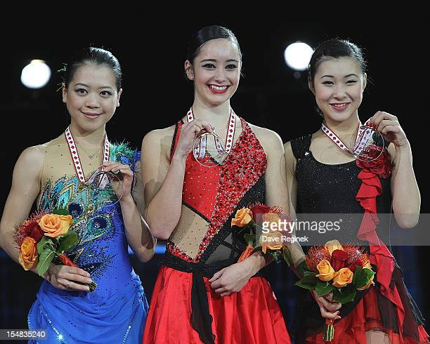 The winners of the ladies competition are from left to right Silver medalist Akiko Suzuki from Japan Gold metalist Kaetlyn Osmond from Canada and...