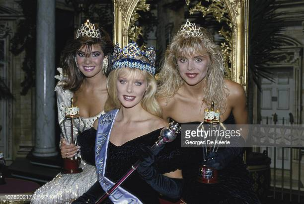 The winners of the Miss World contest in London 12th November 1987 From left to right they are Albany Lozada of Venezuela Ulla Weigerstorfer of...