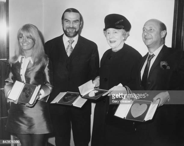 The winners of the Variety Club of Great Britain Show Business Awards for 1967 posing at a luncheon and presentation at the Savoy Hotel in London...