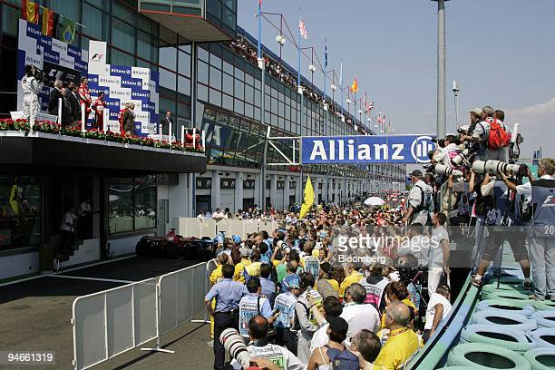 The winners podium is seen at the Formula 1 GP in Magny Cours France Sunday July 16 2006 Ferrari's Michael Schumacher won Formula One's French Grand...