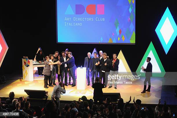 The winners pose with the award during the ADCI Gran Prix Awards 2015 at the IF Italians Festival at Franco Parenti Theater on November 7 2015 in...