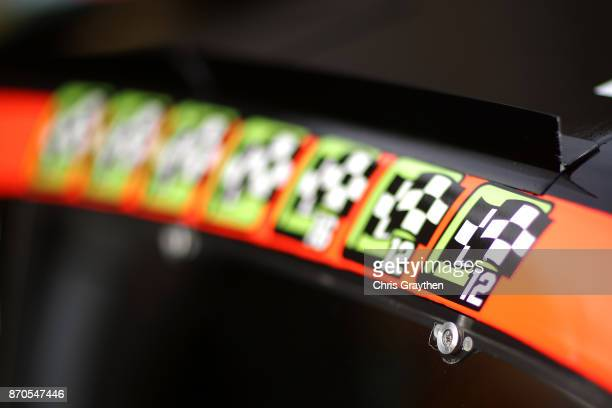 The winners stickers on the car of Martin Truex Jr driver of the Bass Pro Shops/Tracker Boats Toyota are seen prior to the Monster Energy NASCAR Cup...