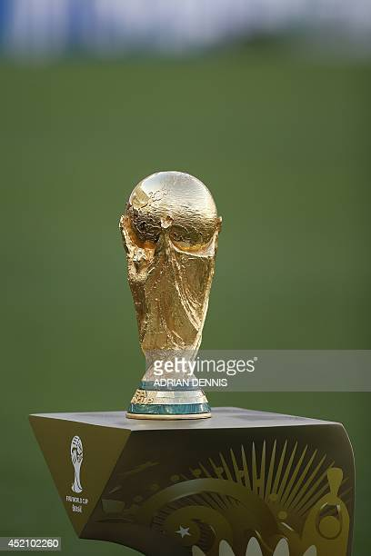 The winner's trophy is displayed before the 2014 FIFA World Cup final football match between Germany and Argentina at the Maracana Stadium in Rio de...