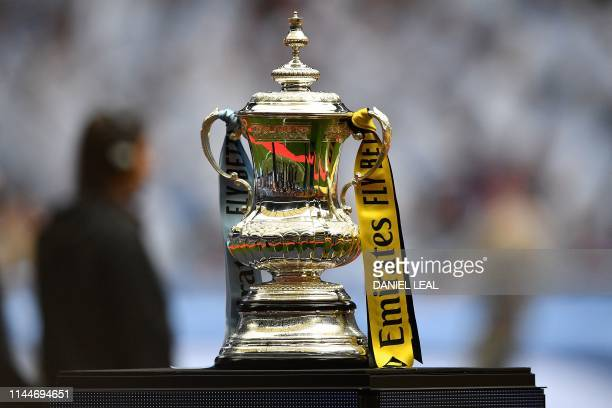 The Winner's Trophy is displayed before the English FA Cup final football match between Manchester City and Watford at Wembley Stadium in London on...