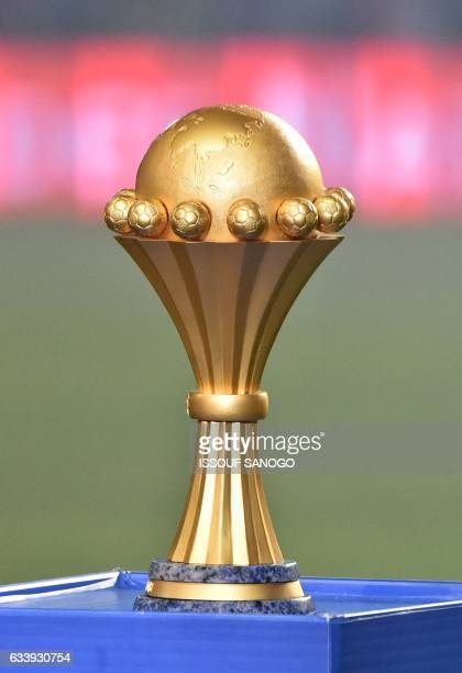 The winner's trophy is on display prior to the start of the 2017 Africa Cup of Nations final football match between Egypt and Cameroon at the Stade...