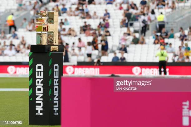The winner's trophy is pictured ahead of the inaugural match of the new cricket format, The Hundred played between the Oval Invincibles and the...