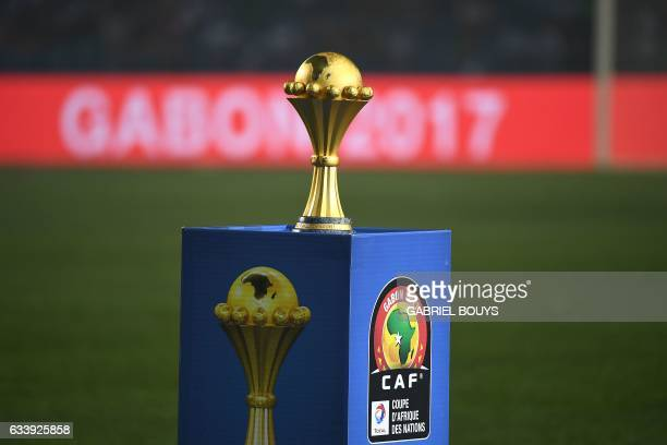 The winner's trophy is put on display during the 2017 Africa Cup of Nations final football match between Egypt and Cameroon at the Stade de l'Amitie...
